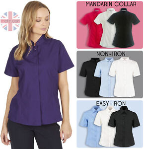 Womens Ladies Smart Short Sleeve Shirt Mandarin Collar Fitted Workwear Uniform