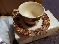 Nasco mountain woodland Cup And Saucer Set excellent Condition Vintage Pattern