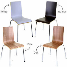 Set of 4 Dining Chairs White Stacking Stackable Home Office Kitchen Indoor Seat