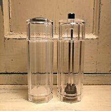"Mr. Dudley Pepper Grinder and Salt Shaker Clear Acrylic Octagon 5 1/2"" Tall`"