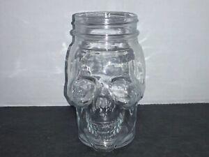 """Mason Jar Skull Glass - Clear 16 oz 5.5"""" Tall"""