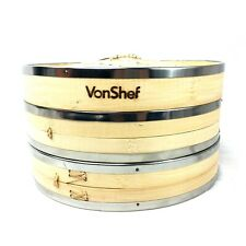 VonShef Premium 2 Tier Bamboo Steamer with Stainless Steel Banding liners