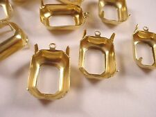 Brass Octagon Prong Settings 18x13 1 Ring Open Back -18 Pieces