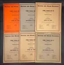 Lot Of 6 Boston & Maine Railroad Employee Time Tables & Rule Booklets 1933-1936