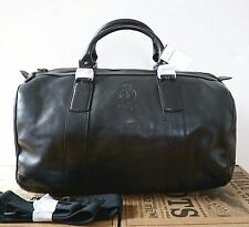POLO RALPH LAUREN Black Leather Duffle Travel Weekender Bag