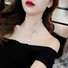 Korea Clavicle Chain Simple Rhinestone Bow Imitation Pearl Pendant Necklace Gift
