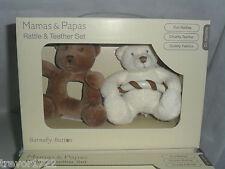 MAMAS PAPAS BABY BARNABY BEAR/BUTTON RATTLE TEETHER SET BNIB NEW IN BOX