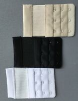 NEW Womens 3 Hook Bra Strap Back Extender Color Black White Beige 3 piece set