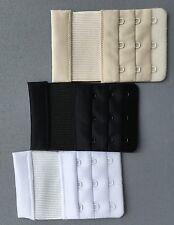 NEW Womens 3 Hook Bra Strap Back Extender Color Black White Beige 3 piece set