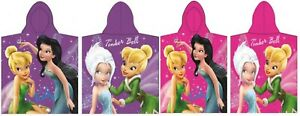 Disney Fairies Poncho Tinker Bell Hooded Towel for Girls 100% Cotton