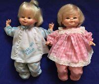2 vtg HORSMAN make me laugh 'n cry BABY girl DOLLs 1974 (sound boxes don't work)