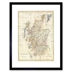 1799 Clement Cruttwell Map Scotland Vintage Art Print Frame 12x16 Inch