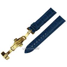 Blue Wristwatch WatchBand Crocodile Grain Leather Strap Gold Push Buckle