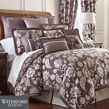 Waterford ADELISA 6P Queen Comforter Set Floral Damask Plum Silver Ivory