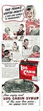 """1940 Log Cabin PRINT AD Syrup Vintage """"Cabin"""" container Football"""