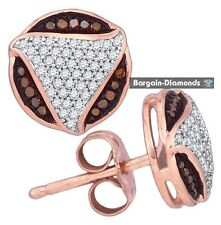 red cocoa brown white diamond 10K rose gold stud earrings .25 carats round love