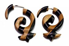 Design Wooden Hippie Earrings Sew_49 A Pair of Brown Black Strap