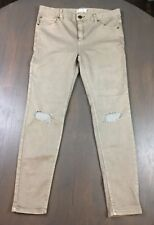 Free People stretchy soft khaki skinny jeans distressed open knees 30 NWT