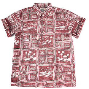 Reyn Spooner Mens Hawaiian Shirt Red & White Reverse Print Travel Airplane Sz L