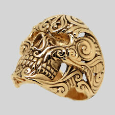 Mexican Sugar Skull 14K Gold Ring Biker Memento Mori Handmade Size 10 UNIQABLE