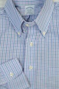 Brooks Brothers Men's Purple Blue Check Non Iron Cotton Dress Shirt 17 x 35