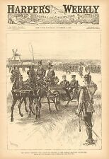 German Emperor & Count Von Moltke, At Military Maneuvers, Vintage 1890 Art Print