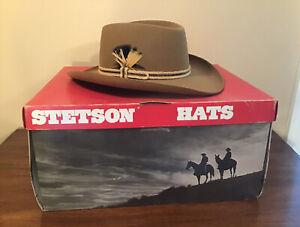 "Stetson Gun Club 7 1/4"" Western Hat Camel Wool Felt With Box Excellent"