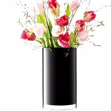 Jet Black Glass Cylinder Vase 30cm High 14cm Across Florist Flower Table Bridal
