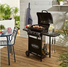 Portable Noir Jardin Patio Gaz Double Brûleur Bbq Barbecue Barbecue Grill