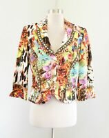 Alberto Makali Abstract Graphic Floral Cheetah Print Beaded Blazer Jacket Sz 10