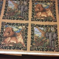 "Jungle Animals Crib Quilt Handmade 41"" x 31""  Lions Giraffe Elephant"