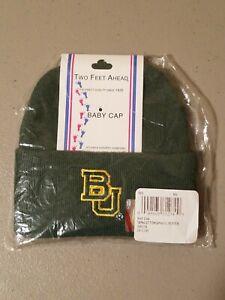 Two Feet Ahead Green Knit Baby Cap Beanie Hat w/ BU Baylor University Team Logo