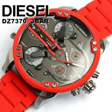 NEW DIESEL DZ7370 57MM MR.DADDY RED MULTIPLE 4 TIME ZONE CHRONOGRAPH MENS WATCH