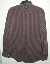METRO LONDON LS Button Front Striped Shirt Sz 16/16 1/2 - 34/35