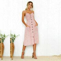 Women Vintage Flower Sleeveless Sundress Backless Summer Casual Beach Dress
