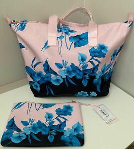 Designer Ted Baker Pink Floral Travel Beach Shopper Tote Bag 2 Pce BNWT RRP £70