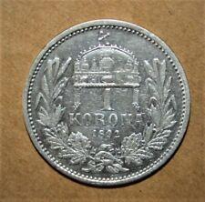 Hungary 1 Korona 1892-KB Very Fine Silver Coin *** Key Date
