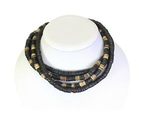 Set Of 4 Coco Heishi Wood Surf Necklaces / Chokers Surfer Elasticated - B