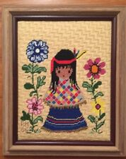 Finished Needlepoint INDIAN GIRL IN PONCHO Wool Ted DeGrazia FRAMED