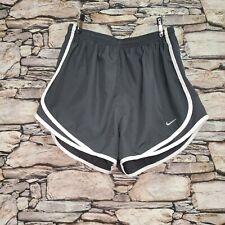 Nike Womens Athletic Shorts Size Medium Gray White Trim Mesh Sides Lined Booty