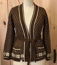 Vintage Bobby Kent Women's Snowflake Cardigan Belt Christmas Sweater