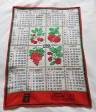 """Ancien torchon """" Fruits rouges 1988 """" - jamais utilisé, linge ancien"""