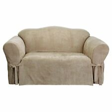 Sure Fit Soft Suede  BOX Cushion - LOVESEAT Slipcover - Taupe