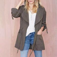 Damen Long Mantel Duster Parka Trench Coat Strickjacke Outwear Waterfall Jacken