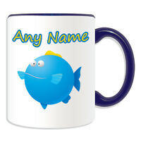 Personalised Gift Blue Fat Fish Mug Money Box Cup Animal Insect Design Theme Sea