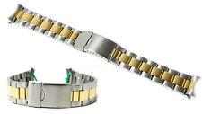 Cinturino oyster olorogio acciaio ansa curva 22mm bracciale bicolor deployante