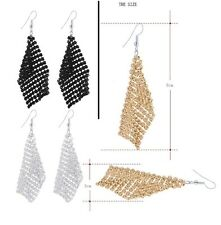 Combo Gold+Silver+Black Tassel Long Dangle Hook Alloy Earrings For Women Jewelry