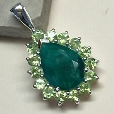 Genuine 12ct Peridot Emerald 925 Solid Sterling Silver Pear Pendant 26mm