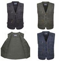 Men Multi Pocket Safari Gilet Waistcoat Vest Hiking Travel Sleeveless Jacket Top