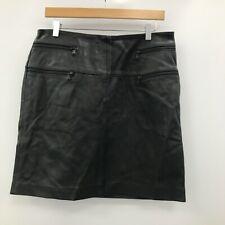Aviatrix Skirt Womens Size UK 14 Black 100% Leather Casual Everyday 283027